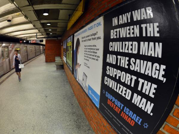 Ads condemning radical Islam went up in the New York City subway system today. The transit authority posted them after losing a legal battle with the ads' sponsor.