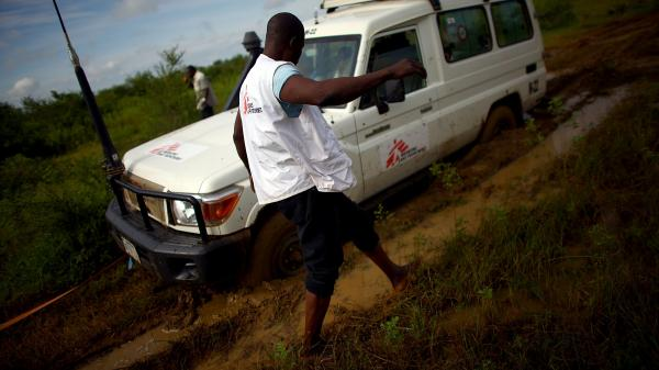 Four-wheel drive is no match for the mud on the road to a gold mine in northern Nigeria.
