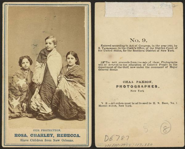 Rosa, Charley and Rebecca are three of eight freed slaves who sat for portraits in 1863-1864 that were sold to raise money to fund schools for emancipated slaves in Louisiana. The three were chosen because it was believed their near-white complexions would draw more sympathy — and support — from a country torn apart by slavery and civil war.