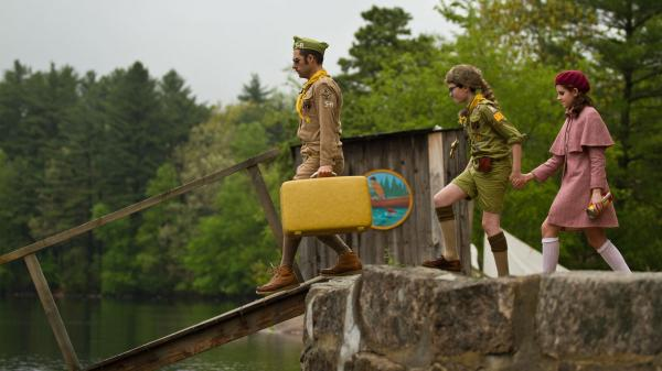Cousin Ben (Jason Schwartzman), Sam (Jared Gilman) and Suzy (Kara Hayward) show that nothing can stand in the way of young love in Wes Anderson's <em>Moonrise Kingdom</em>.