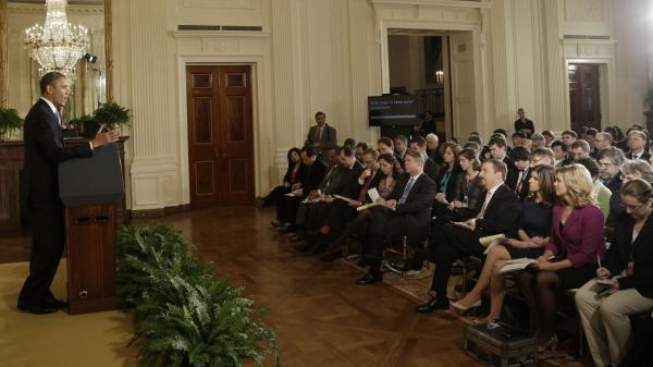 President Obama holds a news conference Monday in the East Room of the White House.