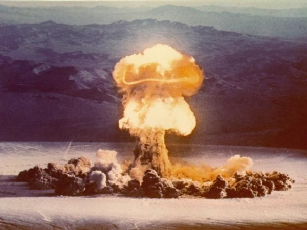 Nuclear bomb tests like this one, conducted at the Nevada Test Site in 1957, are helping scientists understand how the human body works.