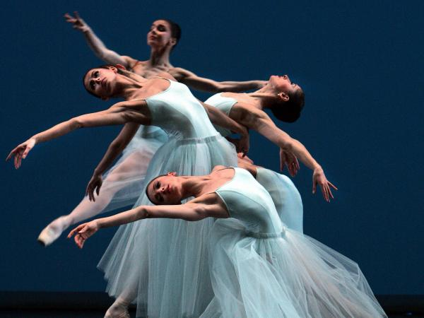 Dancers perform George Balanchine's <em>Serenade</em> in a 2007 production staged by Francia Russell and Suzanne Schorer at the Bolshoi Theatre in Moscow.