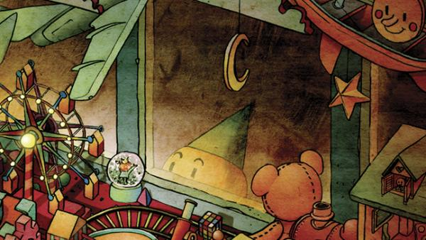 "A small, child-like creature in a cone hat peers into a toy shop, happy at the sight of a snow globe, in a vignette called ""Tininess"" in <em>Darkness Outside the Night</em>, a graphic novel illustrated by Xie Peng. Find out what happens in the <a href=""http://www.npr.org/books/titles/187048382/darkness-outside-the-night?tab=excerpt#excerpt"">excerpt below</a>."