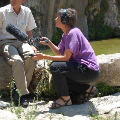 NPR International Correspondent Emily Harris in the West Bank interviewing Palestinian villagers about land and water issues.