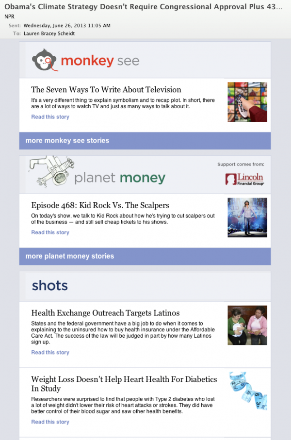 <strong>After:</strong> Blog subscribers will now see all the content from their selections inside the one Daily Digest email.