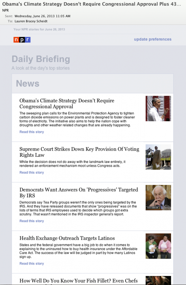 "<strong>After:</strong> Today, our new ""Daily Digest"" newsletter includes fully-customizable sections. Viewers on mobile phones receive an optimized version."