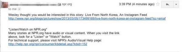 <strong>Before:</strong> Stories shared via email used to look like they were by a robot.