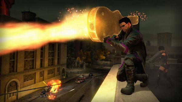 In this shot from the game <em>Saints Row IV</em>, it sure looks like somebody is warding off an attack with a guitar.