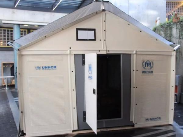 ...into a temporary shelter that is designed to last up to three years and provide electricity via solar panels.