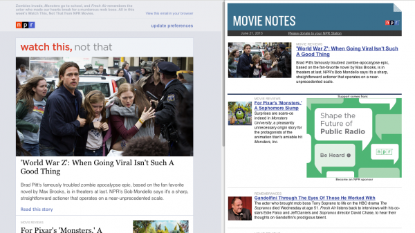 The new email layout <strong>(Left)</strong> gives more importance to artwork and has larger type for easier reading compared with the old layout<strong> (Right)</strong>.