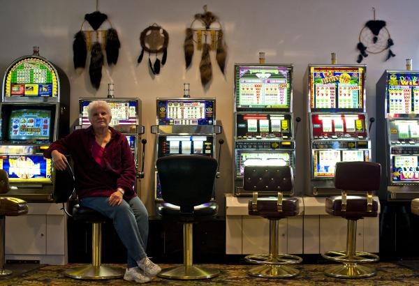Denise Coyle, owner of the Border Inn, which straddles Utah and Nevada — hence the slot machines on one side.