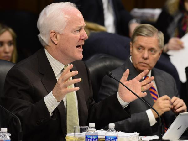 Republican Sen. John Cornyn of Texas delivers remarks during a Senate Judiciary Committee meeting to work on the immigration legislation in May.