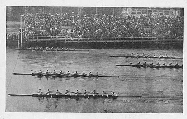 This photo from the 1936 Olympic Games shows the University of Washington eight-oar boat (top) crossing the finish line just ahead of second-place Italy and third-place Germany. (University of Washington Libraries, Special Collection)