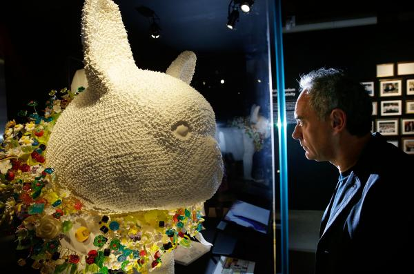 "Ferran Adrià looks at a giant French bulldog made out of meringue, part of the exhibit ""<a href=""http://www.somersethouse.org.uk/visual-arts/elbulli-ferran-adria-and-the-art-of-food"">El Bulli: Ferran Adrià and The Art of Food</a>."""