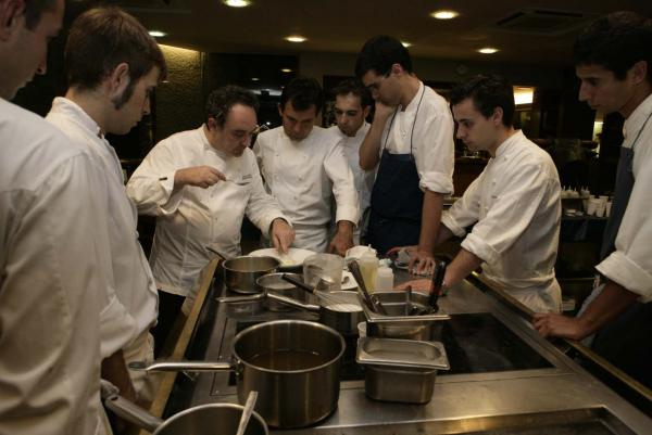 Ferran Adrià with his team at El Bulli.