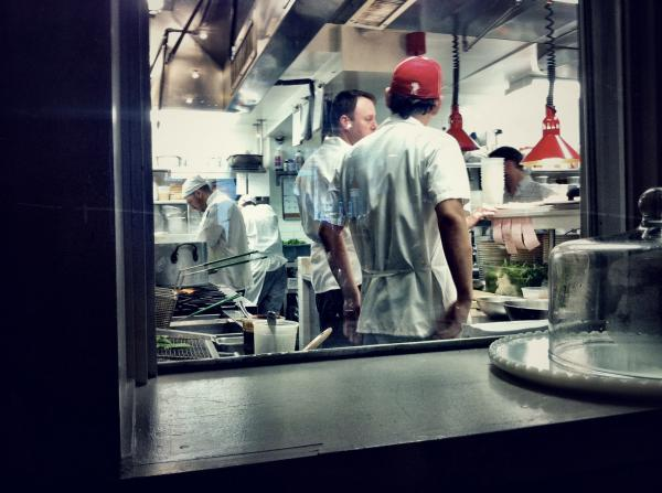 A view inside the kitchen at chef Peter Hoffman's farm-to-table restaurant, Back Forty West, in New York's Soho neighborhood.