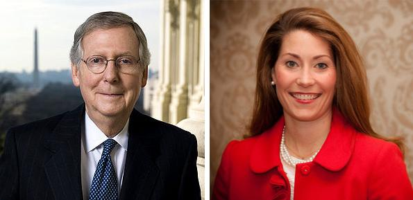 U.S. Senator Mitch McConnell, left, and his challenger, Kentucky Secretary of State Alison Lundergan Grimes.