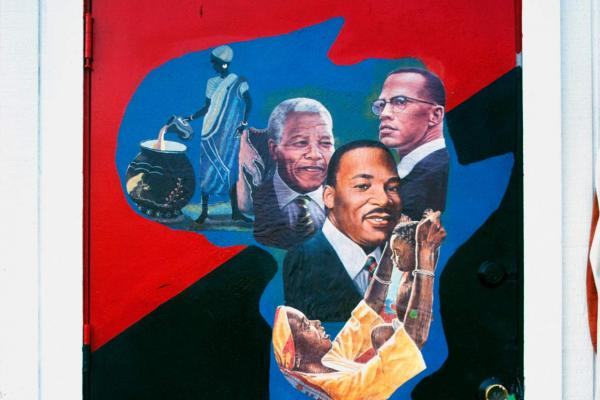 MLK Jr. mural at Mr. Toy, W. Madison Street at Cicero Avenue, Chicago, 1991. Painted by Mr. Toy's son.