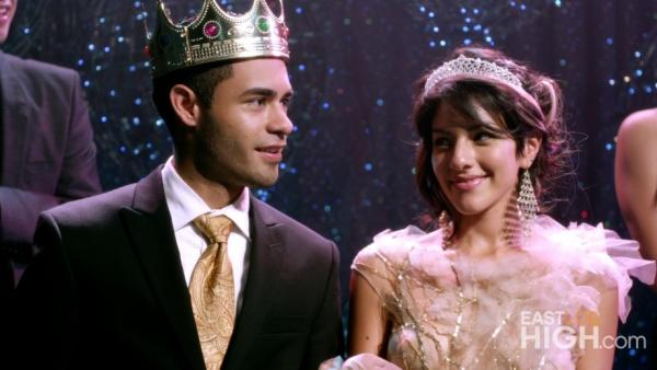 Jacob and Vanessa are crowned king and queen of the homecoming dance on the first episode of gritty high school drama <em>East Los High</em>.