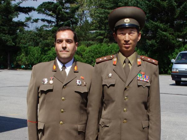 Spanish aristocrat Alejandro Cao de Benos is believed to be the only foreigner working for the North Korean government. He divides his time between North Korea and Europe, where he organizes university conferences on North Korean ideology. He's shown here with a North Korean military officer in Panmunjon, on the border with South Korea.