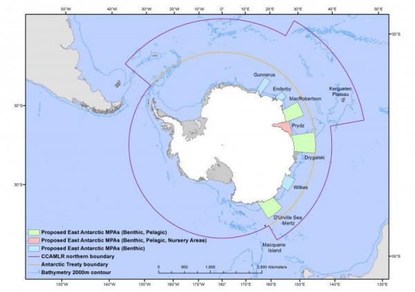 "<strong>The Australia-France-EU Proposal.</strong> This proposal for new marine protected areas ""would conserve representative areas of biodiversity in the high latitudes of the Indian sector of the Southern Ocean,"" according to the Australian Antarctic Division."