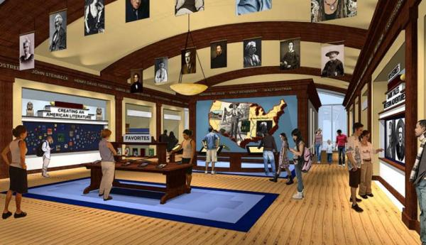 "The museum's design plan says ""The Literary Map lets visitors tour both real and  fictional famous places across the country"" and ""At Visitor Favorites visitors post their favorite  quotations, writers, and books."" (American Writers Museum Foundation)"