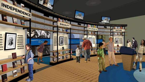 "The museum's design plan says ""Writers Lead the Way is a curved screen-like band of columns featuring two to six key writers for each  movement. Visitors can browse touchscreens and  books, interpretive graphics, and small artifacts."" (American Writers Museum Foundation)"