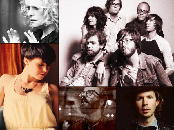 Clockwise from upper left: Goldfrapp, Okkervil River, Beck, Light Heat, Sarah Neufeld