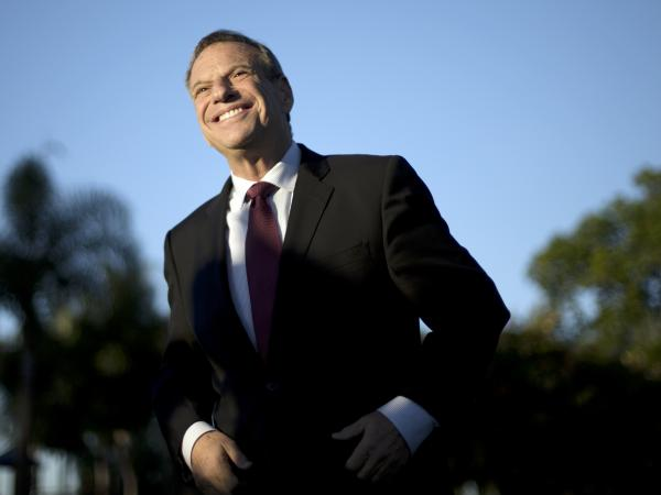 Mayor Bob Filner smiling during better times at a November 2012 news conference at a San Diego park.