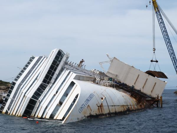 Crews work to remove the Costa Concordia cruise ship wreck on Giglio island in May, more than a year after it capsized.