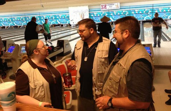 Participants dressed a John Goodman's character Walter Sobchak chat at the 12th annual Lebowski Fest in Louisville, Kentucky. (Joseph Lord/WFPL)