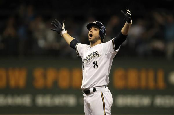 Ryan Braun #8 of the Milwaukee Brewers reacts after hitting a double in Game Five of the National League Division Series, last year in Milwaukee.