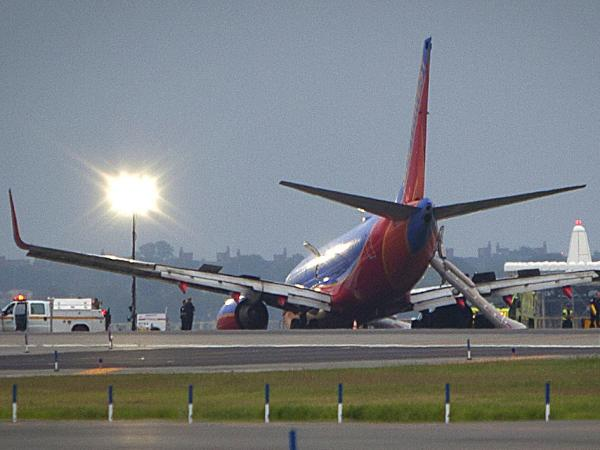 The Southwest Airlines Boeing 737 that made an emergency landing at New York's La Guardia airport on Monday after its front landing gear collapsed.