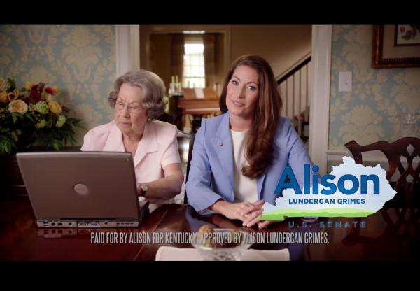 Democratic Senate candidate Alison Lundergan Grimes raises her game in a video about her challenge to GOP Sen. Mitch McConnell.