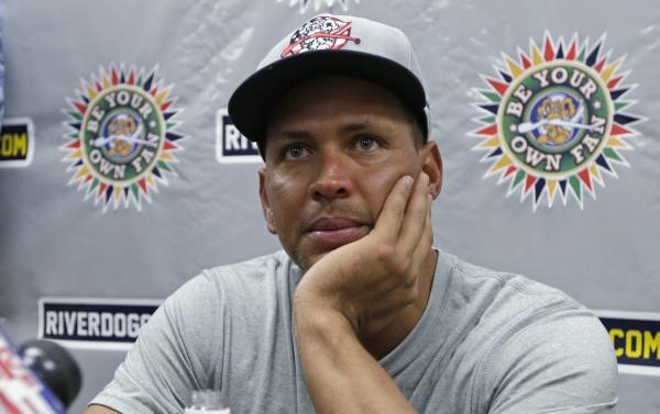 New York Yankees' Alex Rodriguez speaks to reporters after his second rehab baseball game with the Charleston RiverDogs, against the Rome Braves in Charleston, S.C., Wednesday, July 3, 2013. (Chuck Burton/AP)
