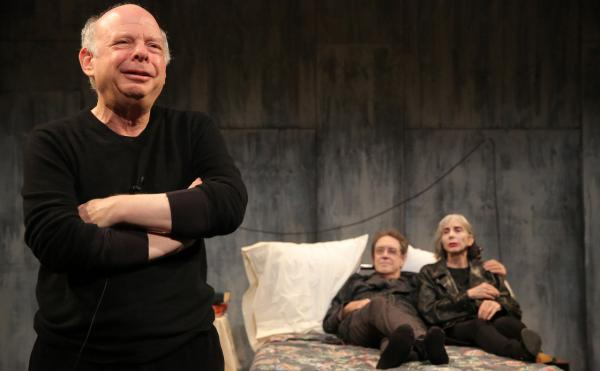 From left: Wallace Shawn, Larry Pine and Deborah Eisenberg make up the cast of The Designated Mourner. Written by Shawn and directed by Andre Gregory, the Public Theater show is a product of one of the longest collaborations in the history of the American theater. (Joan Marcus/The Public Theater)