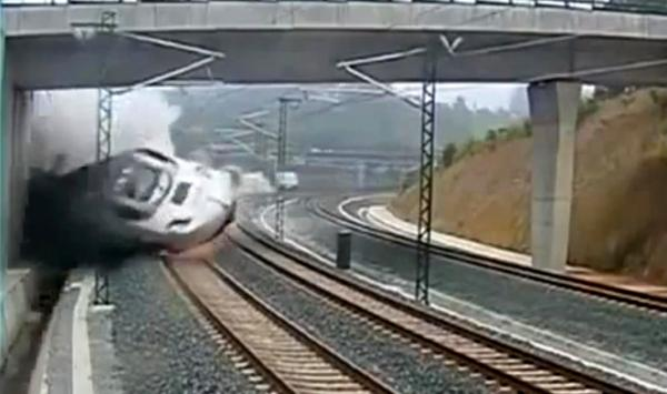 A screenshot from a video of the train derailment in Spain. (YouTube)