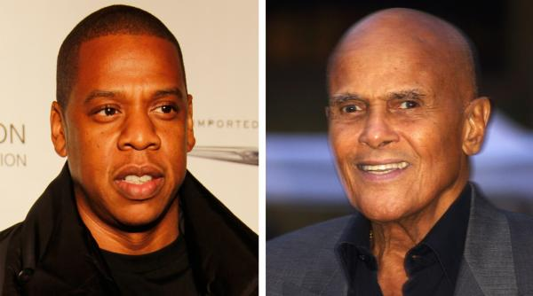 Jay-Z, left, and Harry Belefonte. (Wikimedia Commons)