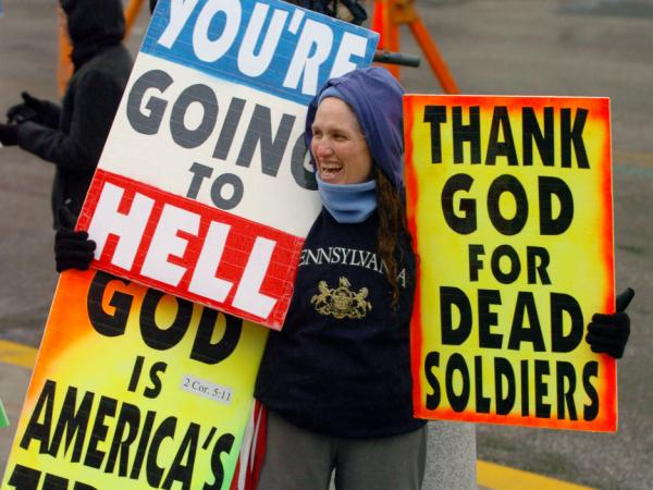 Shirley Phelps-Roper, a member of the Westboro Baptist Church, protests in Pennsylvania in 2006.