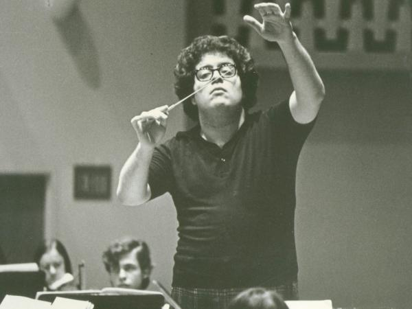 James Levine conducts during a rehearsal before his debut with the Metropolitan Opera on June 5, 1971.