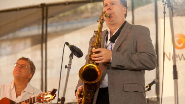 Tenor saxophonist Harry Allen (right) performs with Trio da Paz at the Newport Jazz Festival.