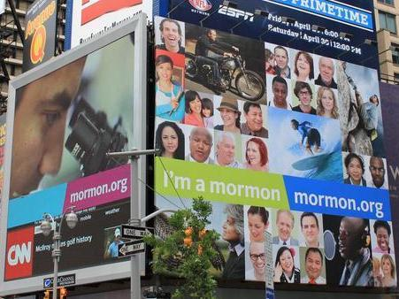 "<p>An ""I'm A Mormon"" billboard in New York's Times Square in June.The LDS church expanded the ad campaign to 12 new cities within the last week. </p>"