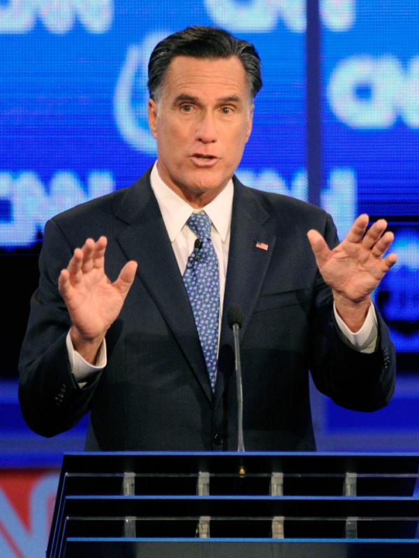 <p>Former Massachusetts Gov. Mitt Romney defended his faith in the Republican presidential debate Tuesday night in Las Vegas. </p>