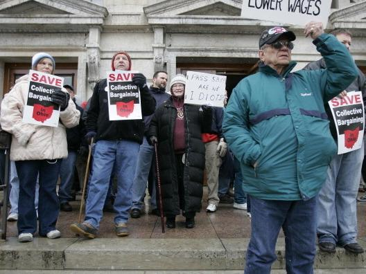 <p>Protesters against Senate Bill 5 during a rally in February 2011 in Columbus.</p>
