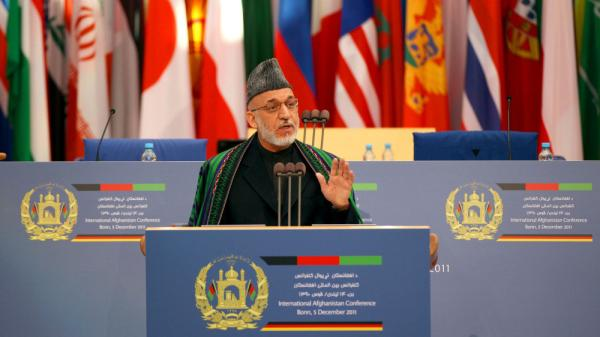 Afghan President Hamid Karzai calls Monday on the international community to keep up its support for Afghanistan. More than 100 countries attended the conference in Bonn, Germany.