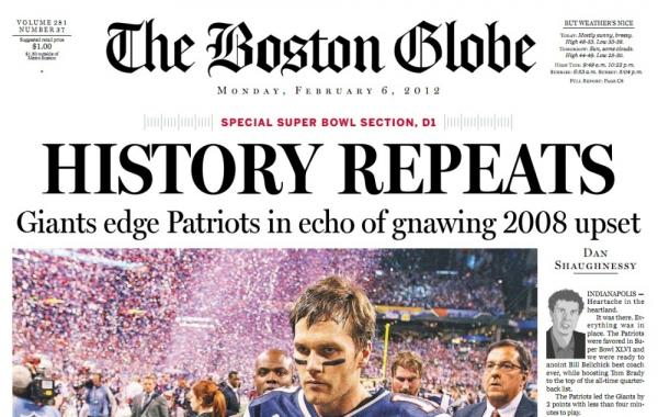 The cover of <em>The Boston Globe's </em>special Super Bowl section.