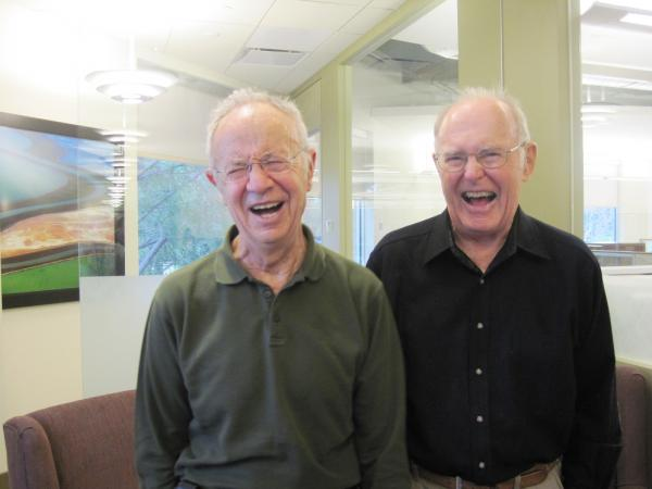 Andy Grove (left) and Gordon Moore, who worked together for over 30 years, share a laugh at the Moore Foundation in Palo Alto, Calif.