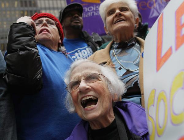 Senior citizens protest threatened cuts to Social Security and Medicare in  Chicago in November 2011.
