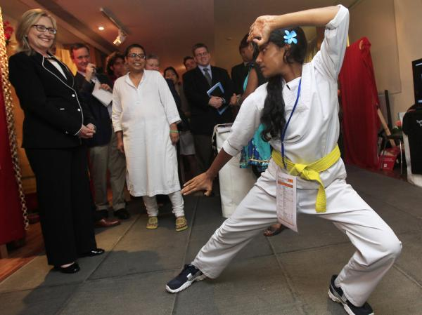 Secretary of State Hillary Clinton was treated to a karate demonstration in Kolkata, India, during her Asia trip.